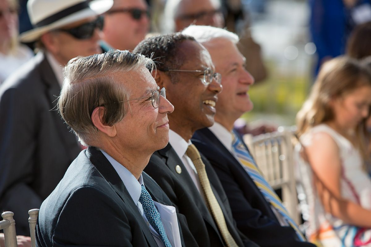 Dr. Bartly J. Mondino (from the left, Dr. A. Eugene Washington and Chancellor Gene Block