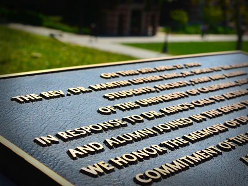 Plaque marking the spot where Dr. Martin Luther King Jr. spoke at UCLA