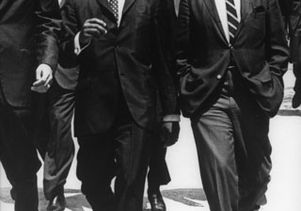 The Rev. Martin Luther King Jr. walking the campus with then-Chancellor Franklin Murphy