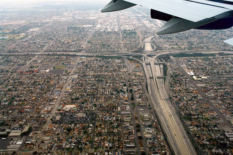 Los Angeles from a plane