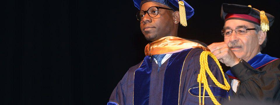 UCLA graduate student hooding ceremony