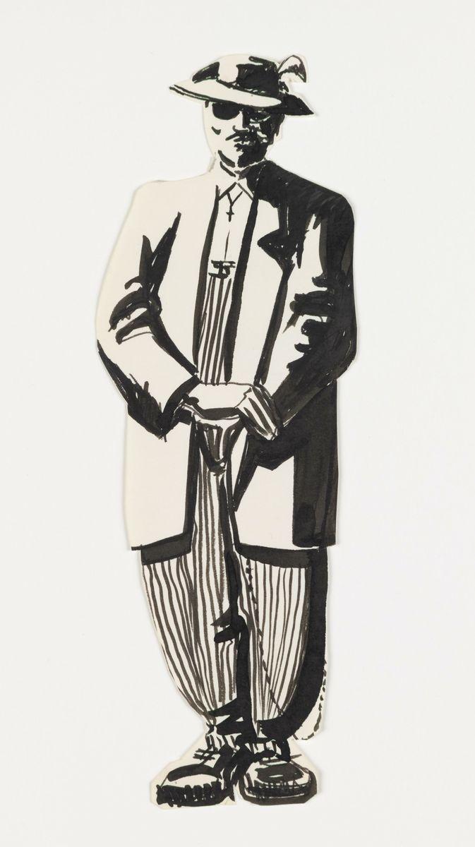 José Montoya sketch of zoot suit man