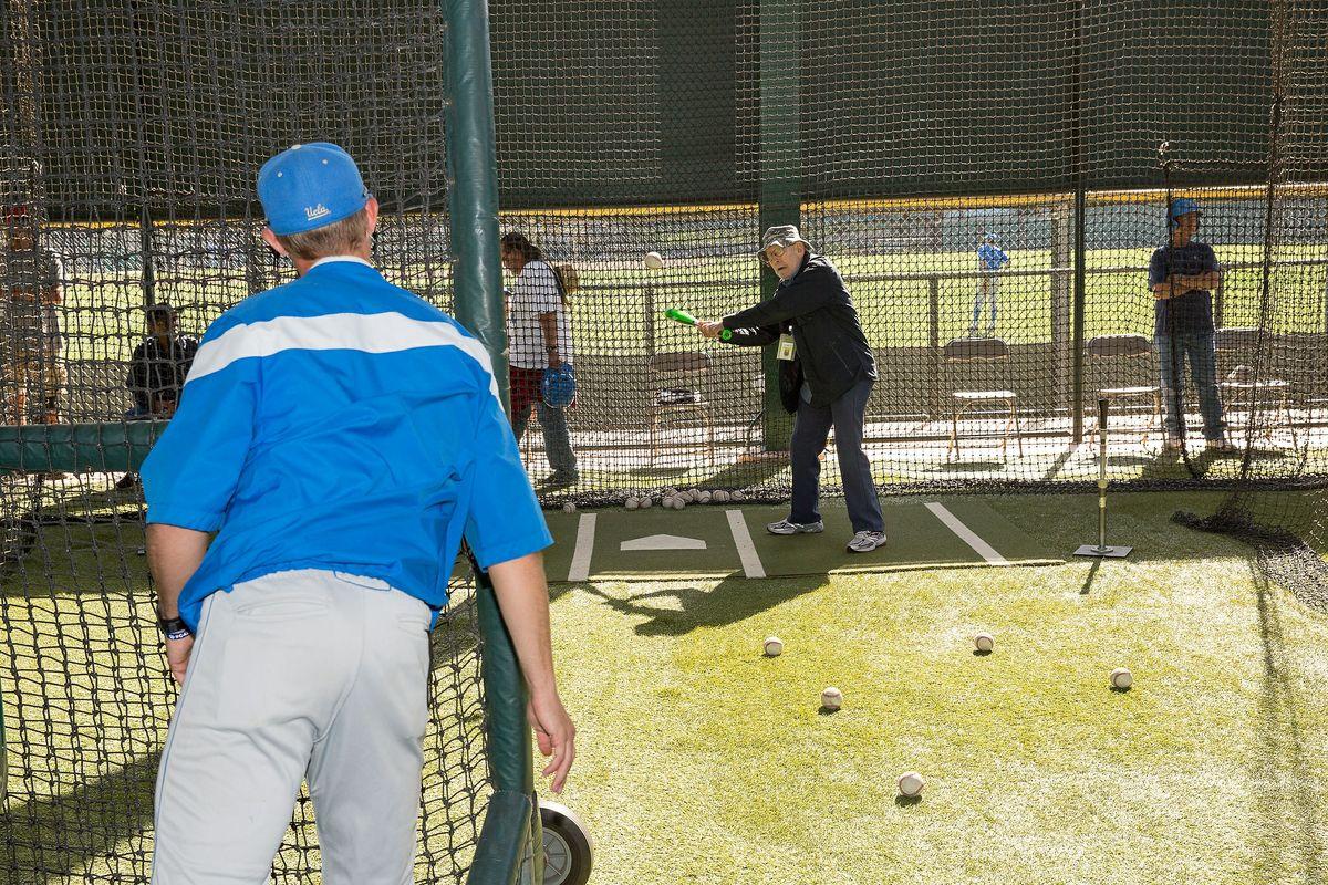 Veteran Nicholas Scordino in a batting cage