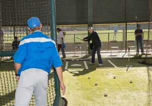 Click to open the large image: Veteran Nicholas Scordino in a batting cage