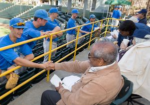 Click to open the large image: UCLA baseball team meets veterans