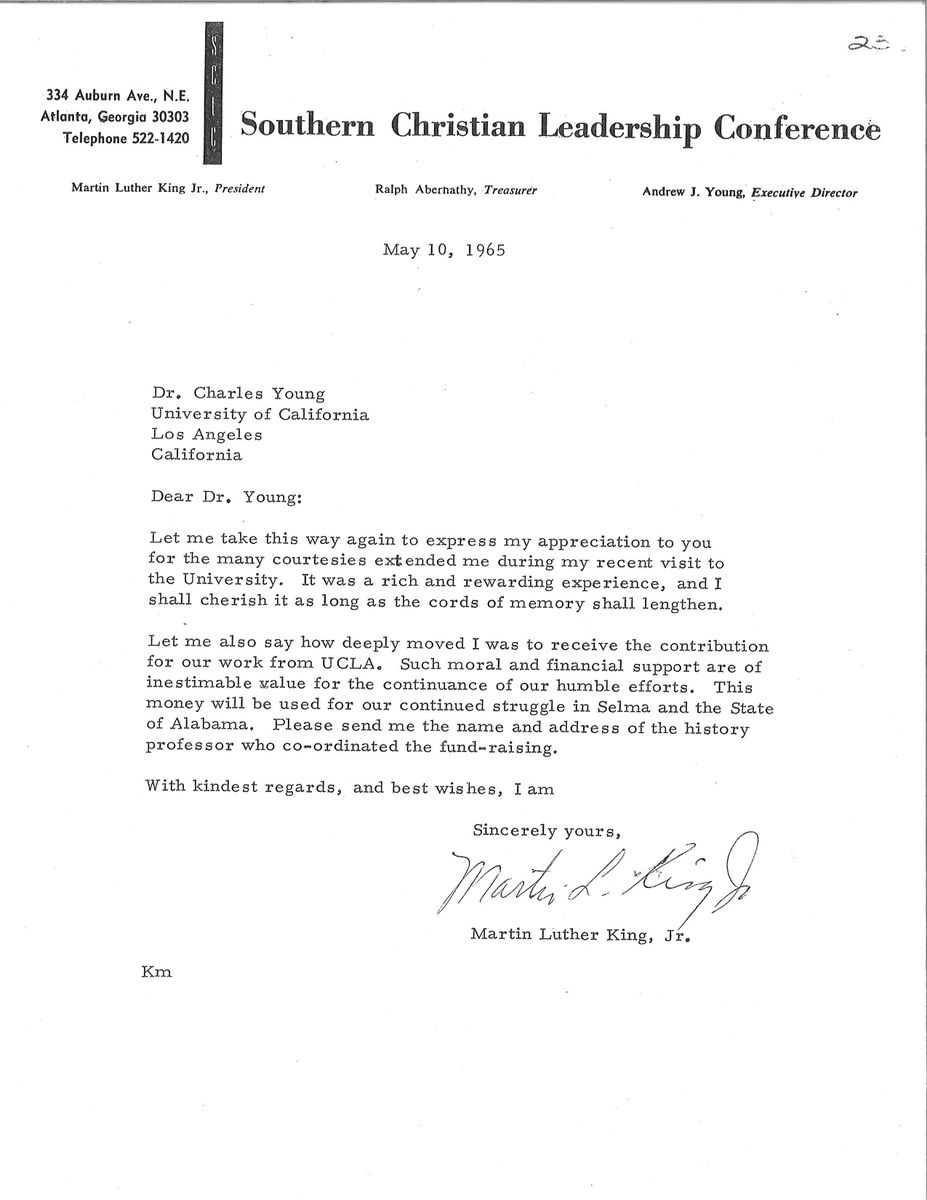 Letter from MLK to Administrative Vice Chancellor Charles E. Young