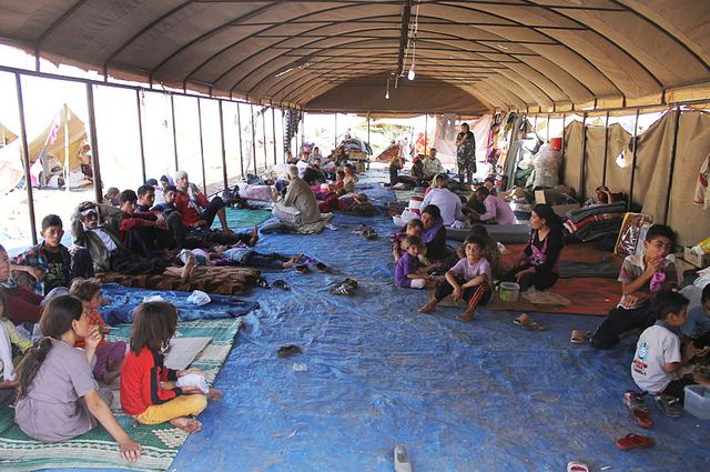 Iraqi Yazidi refugees at Newroz camp in Syria