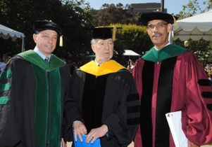 Click to open the large image: Dr. John Mazziotta, Professor Jared Diamond and Dr. Clarence Braddock III