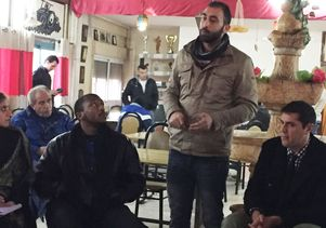 Two UCLA students and a resident of a refugee camp in Bethlehem