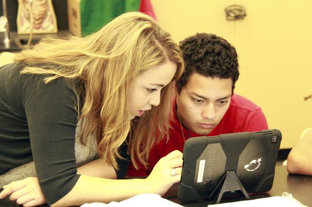 Math teacher Edith Issakhanian and student Bryan Lima