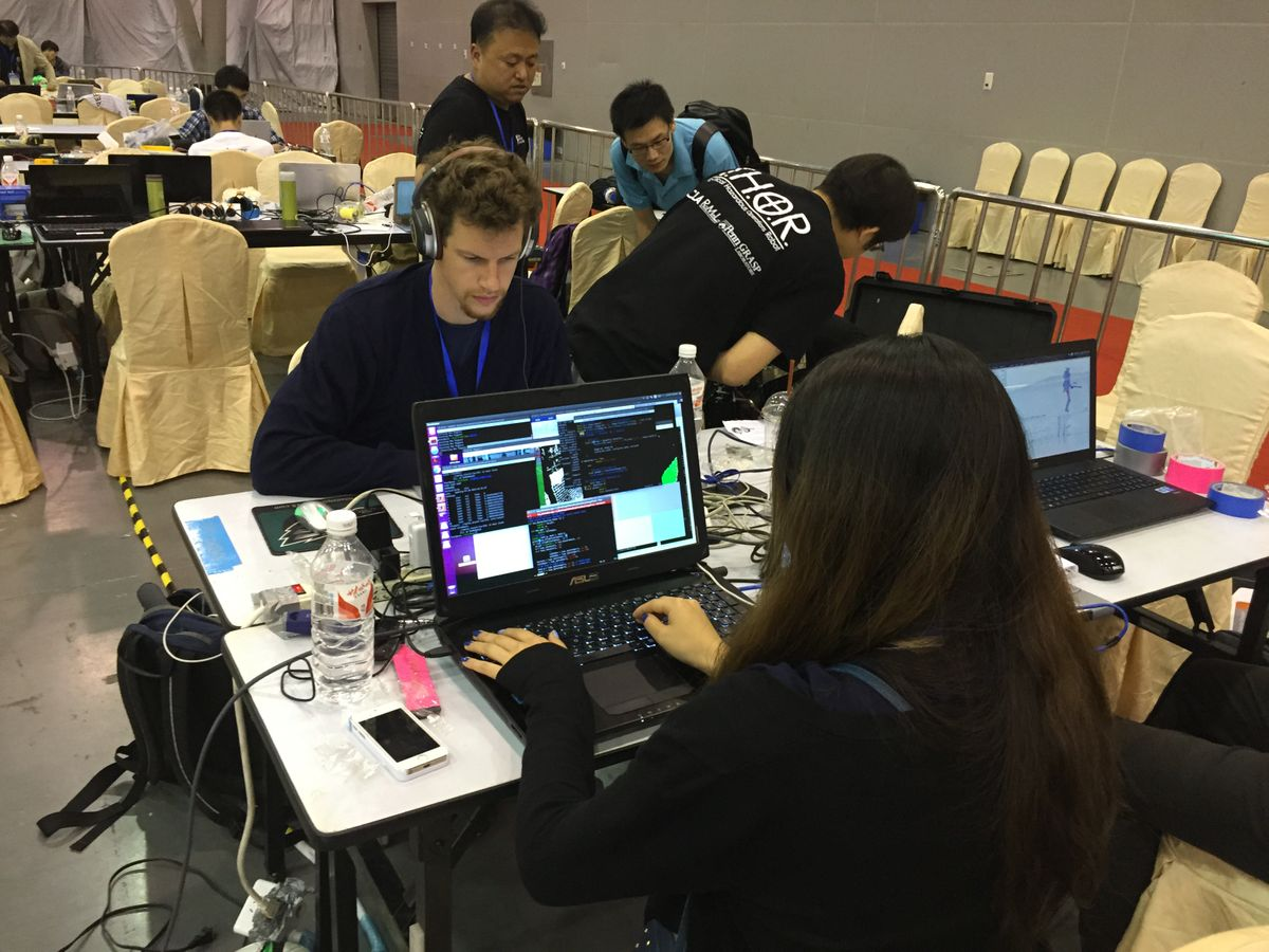 Team THORwIn at their computers