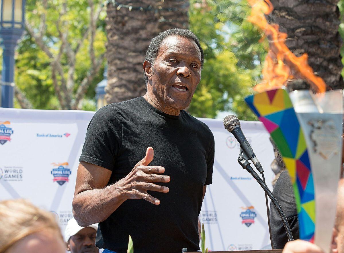 Rafer Johnson speaks at torch relay