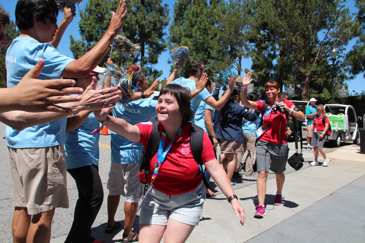 UCLA volunteers welcome the Special Olympics delegation from Austria