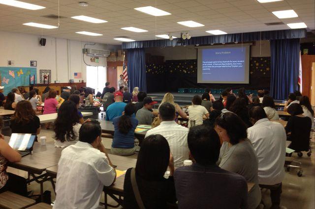 Parents at John Adams Elementary School