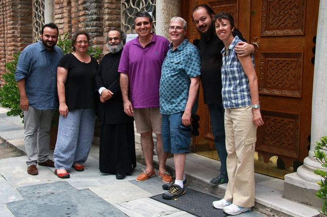Members of the team Gerstel worked with studying Byzantine-era churches in Greece.