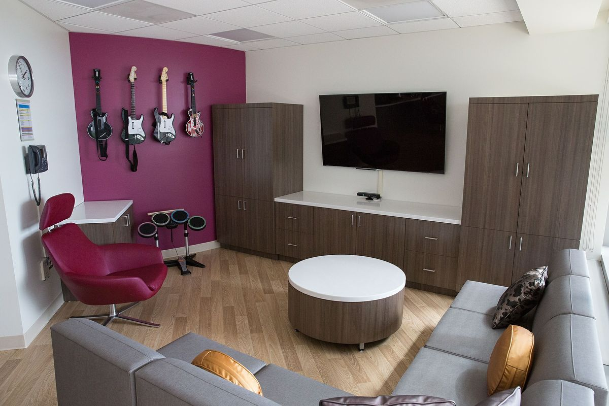 Newly remodeled teen lounge in Mattel Children's Hospital at UCLA