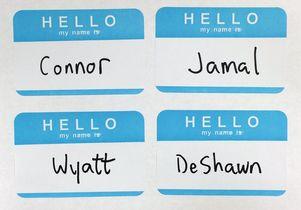 Four name tags