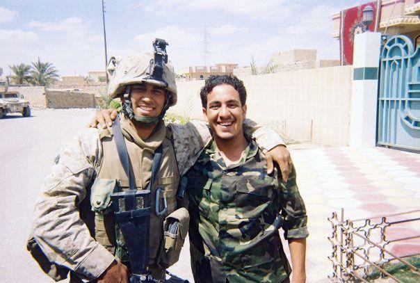 Daniel Ybarra (left) in Ramadi, Iraq