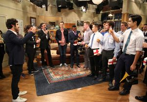 """Click to open the large image: Toast by the cast and crew of """"The Big Bang Theory"""""""