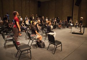 """Participants in Ann Carlson's work, """"The Symphonic Body UCLA"""""""