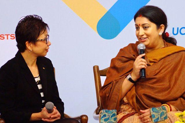 UCLA Vice Provost Cindy Fan with Smriti Zubin Irani, Indian minister of human resources