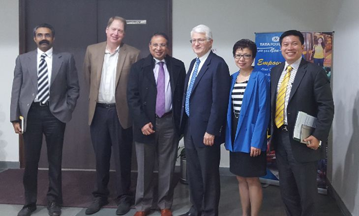 UCLA Chancellor Gene Block and Vice Provost Cindy Fan with Tata Power representatives