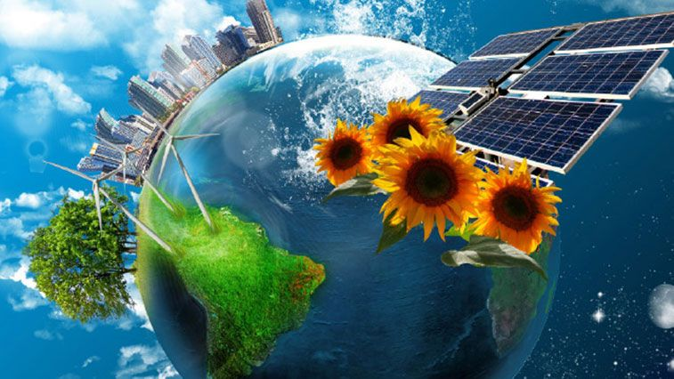 Stock image illustrating renewable energy sources