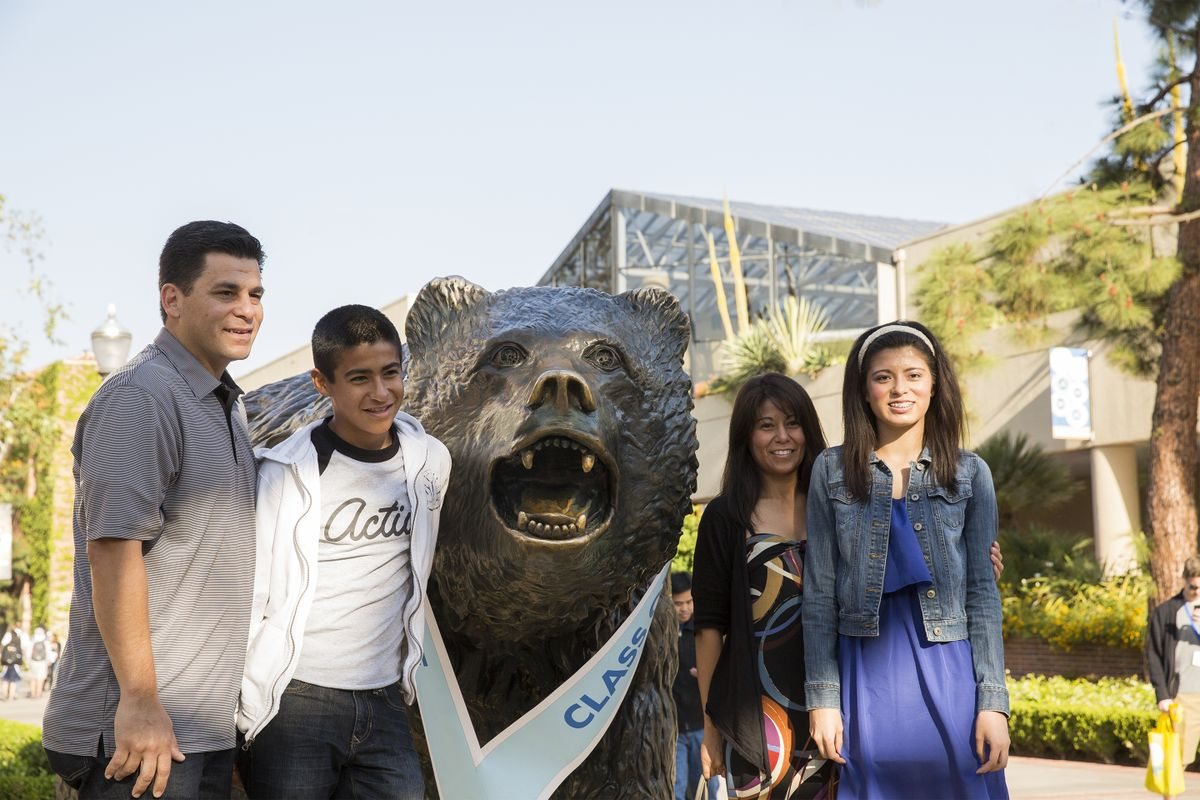 A family visiting on Bruin Day