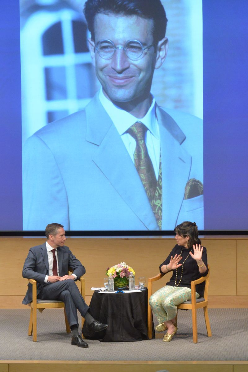Kal Raustiala, Christiane Amanpour against backdrop of photo of Daniel Pearl