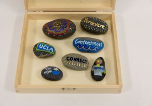 Rocks decorated by attendees at the ribbon-cutting ceremony