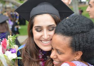 Hugs for a UCLA law graduate