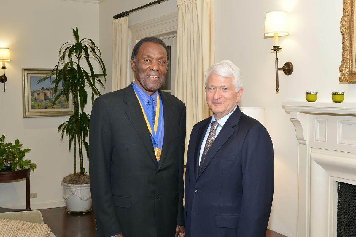 Rafer Johnson and Chancellor Gene Block