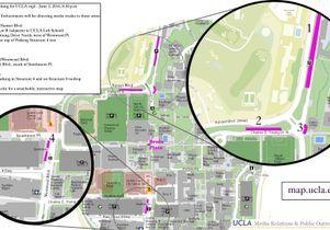 Media truck parking map for UCLA vigil June 2, 2016