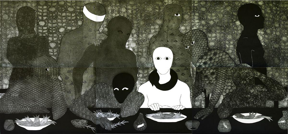 "Belkis Ayón, ""La Cena"" (The Supper), 1991"