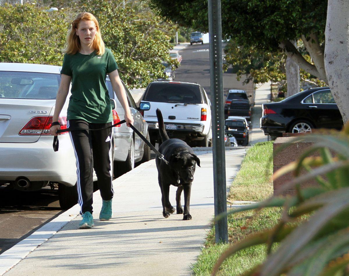 Kennedy walking dog