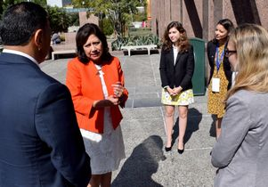 Hilda Solis speaks with UCLA advocacy coalition