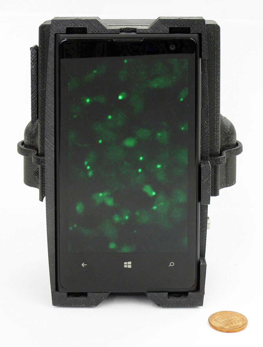 Smartphone microscope front view