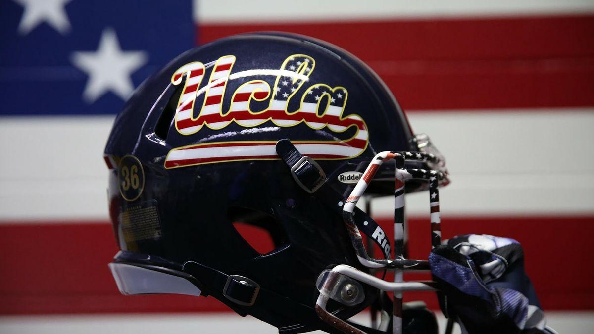 Helmet with patriotic decor