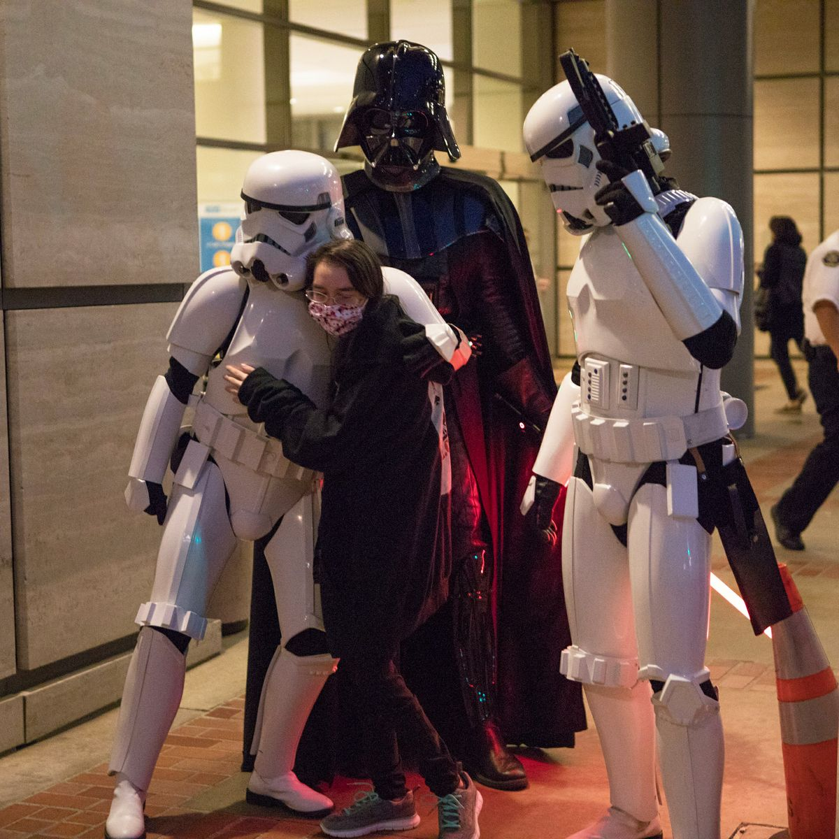 "Kathlyn Chassey gets hug from ""Star Wars"" storm trooper"