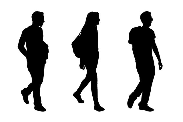 Four young people in silhouettes
