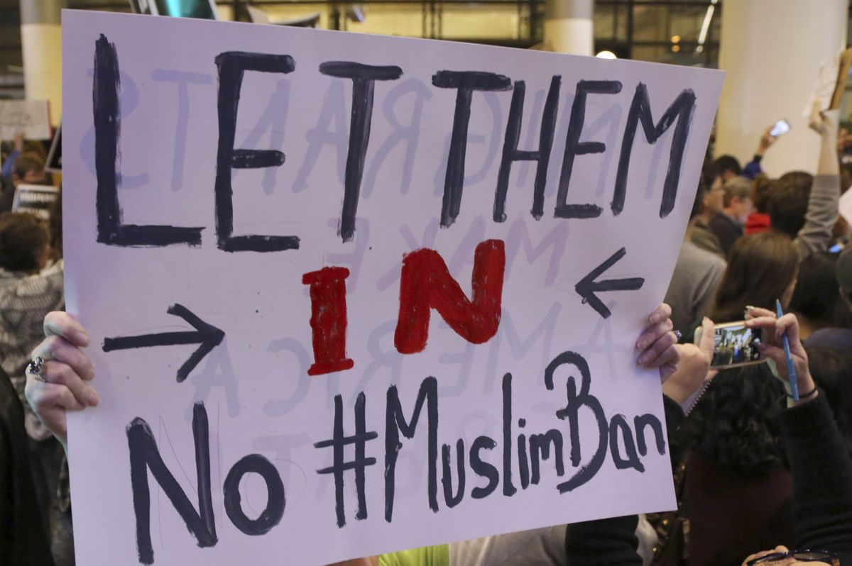 No Muslim ban protest sign