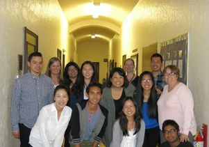 UCLA Squared students, Sarah Bang, high school counselor and partners from the Graduate School of Education and Information Studies