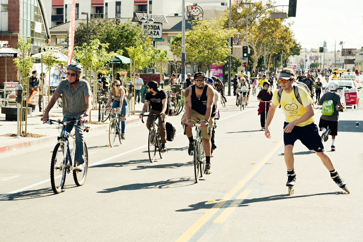 Bike scene during a CicLAvia event in L.A. in 2016