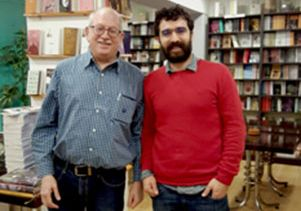 Click to open the large image: David Hirsch and friend at a Kurdish bookstore in Istanbul