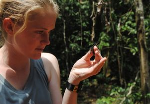 Cara Newberry examines a butterfly.