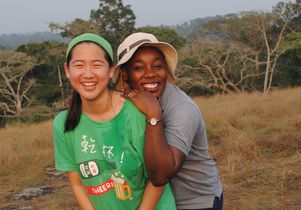 Two students in the Dja Reserve