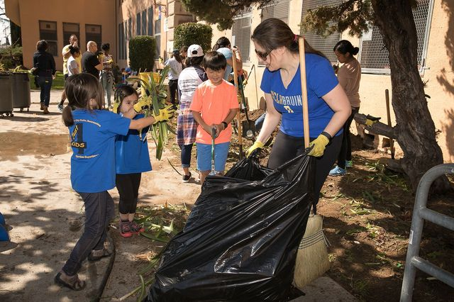Volunteers work at the Mann UCLA Community School beautification