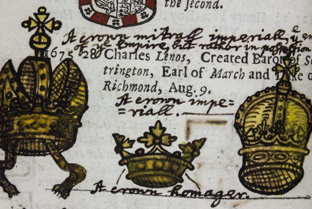 "Details from an annotated copy of Peter Heylyn's ""A Help to English History"" (1680)"