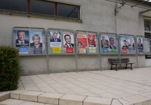 Posters for candidates in the first round of France's presidential election