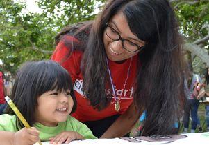 Jumpstart UCLA student and a preschooler